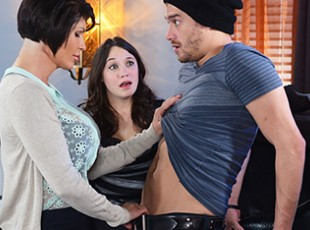 Brazzers mobile porn Shay Fox & Xander Corvus: Your Mom\'s a Bitch Things have been going well between Xander Corvus and his girlfriend Stacey, except for one little problem: her super controlling mother Shay Fox! Every time Xander tries to get a little alone time with Stacey, in comes her mom to break them up. So it hardly comes as a surprise when Shay interrupts a romantic dinner between the couple, demanding Stacey do what she\'s told and stay away from horny men. To prove her point that all men are horny dicks, Shay starts sucking and stroking Xander\'s big cock right in front of her! Stacey storms out, leaving Shay and Xander alone to get their fuck on. Xander\'s thick cock goes balls deep in Shay\'s wet MILF pussy, and then he blows a big load all over her face and big fake tits! His relationship might be over, but all in all, that\'s a pretty good way to break up!video