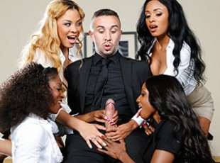 Brazzers mobile porn tube Jasmine Webb, Diamond Jackson, Anya Ivy, Jade Aspen, Keiran Lee: Office 4-Play VII: Ebony Babes Leave it to the four bosses interviewing Keiran Lee for a job today to toy with him in the board-room. Instead of looking at his CV or work experience, these horny ebony nymphos wanted a piece of his big fat cock. Feast your eyes on Jasmine Webb, Anya Ivy, Diamond Jackson, and Jade Aspen as they tested out what really matters in their prospective hire: his sexual prowess! While Keiran was stretching out the pussies and throats of these lusty ladies, watch how these nymphos got each other off with hot lesbian pussy-eating, fingering, and facesitting in their super-nasty office reverse gangbang.video